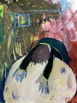 Milana Alaro - The Heavy Head Oil on Canvas, Paintings