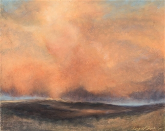 Margret Carde - Late Afternoon Rain Oil Pastel on Panel, Paintings
