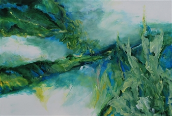 Ingrid Strecker - Unspoiled Nature II Acrylic on Canvas, Paintings