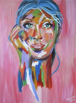Rosemery Torres - The Look Acrylic on Canvas, Paintings