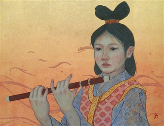 Akinori Ohtsuka - Tenpyou Period Girl Mixed Media on Japanese Paper, Mixed Media