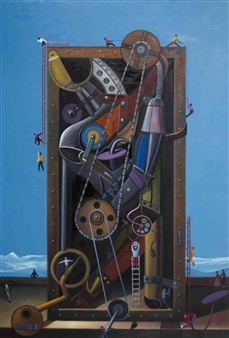 Pedro Vargas - Time Machine Oil on Canvas, Paintings