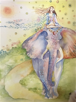 Teona Titvinidze-Kapon - Girl and Elephant Watercolor on Paper, Paintings