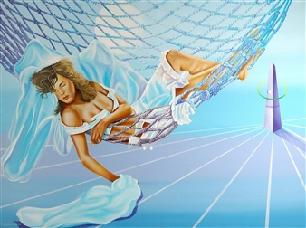 Pino Lavecchia - Metaphysical Dream Oil on Canvas, Paintings