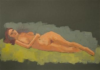 Jutta Ebeling-Dehnhard - Lying Nude Acrylic on Carton Board, Paintings