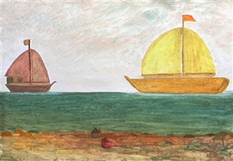 Merab Kardava - Two Boats Oil on Canvas, Paintings