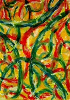 Naini Kumar - Fruit Peals Acrylic & Watercolor on Paper, Paintings