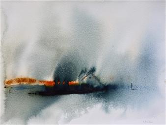 Rine Philbin - Looking East Watercolor on Paper, Paintings