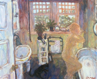 Jenny Ahmad - Brown Bathroom and Kneeling Nude Oil on Canvas, Paintings