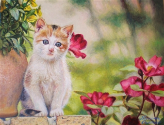 Sayumi Osanai - Cat Oil on Canvas, Paintings