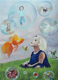 Helena Zyryanova - Goldfish Oil on Canvas, Paintings