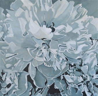 Helena McConochie - Waterdrops on Peonies 'Clare' Oil on Canvas, Paintings