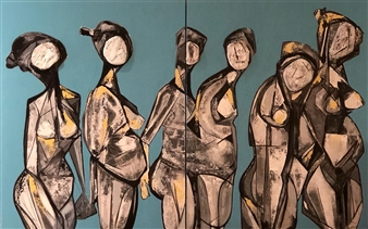Sahar Khalkhalian - Waiting Room Acrylic & Mixed Media on Canvas, Paintings