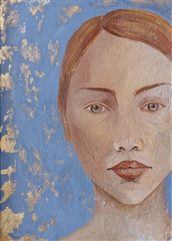 Aigerim Bektayeva - Self-Portrait (Aigerim) Fresco Tempera, Paintings