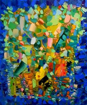 Salome Chelidze - Turquoise Euphoria Oil on Canvas, Paintings