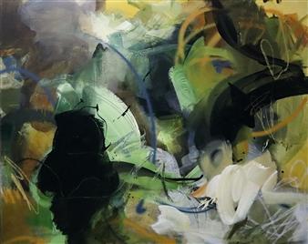 Abreesha Jones - Build Past Discomfort Acrylic, Spray Paint, Oil Pastel on Canvas, Mixed Media