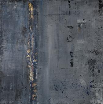 Jeannette Dannehl - Blue Fog Acrylic & Gold Leaf on Canvas, Paintings