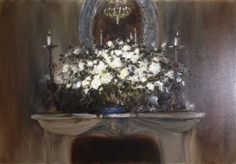 Lizzy Forrester - Romantic Mantlepeace Oil on Canvas, Paintings