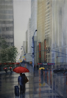 Tammy Phillips - The Red Umbrella Watercolor on Paper, Paintings