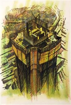 Manuel Riquelme Loyola - No Parking - No Business Pastel on Paper, Paintings