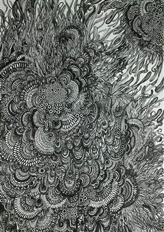 Kaoru Kushima - Floating Ⅰ Pen on Paper, Drawings
