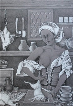 Glotz Gérard - In the Castle Kitchen White/Black Pencil on Grey Cardboard, Drawings