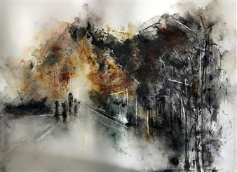 Dana Ingesson - On My Way to the Unknown Watercolor on Paper, Paintings