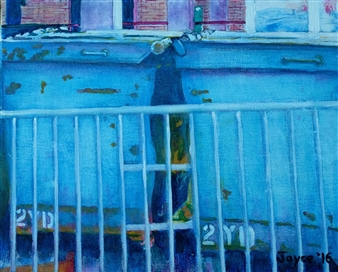 Martin Randall Joyce - Two Dumpsters Acrylic on Canvas Board, Paintings