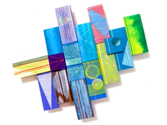 Yoshiko Kanai - 2.4.8 Acrylic & Thread on Wood