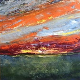 Christiane Palpant - Meridian Sunrise Oil on Canvas, Paintings
