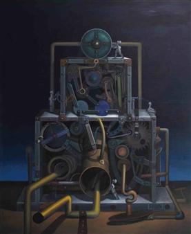 Pedro Vargas - Night Machine Oil on Canvas, Paintings