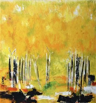 Vasant Dora - Amalatas-2 (Cassia Blooms) Oil on Canvas, Paintings