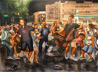 Herold Patrick Alexis - Shots Fired Jouvert Night Oil on Canvas, Paintings