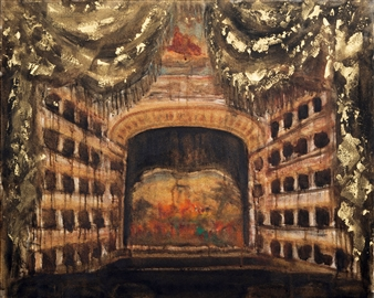 Fernando Ekman - Teatro di San Carlo Oil & Pastel on Canvas, Paintings