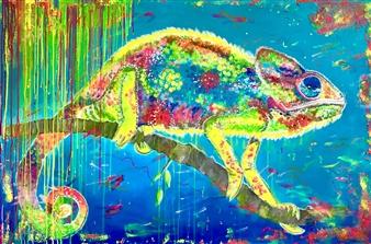 Grażyna Aneta Ochowiak - Chameleon Acrylic on Canvas, Paintings
