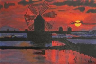 Silvia Mónica Giammatteo - Molinos de Trapani Acrylic on Canvas, Paintings