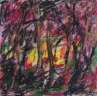 Ed Belbruno - Sunrise Through the Trees Acrylic & Oil Pastel on Canvas, Paintings