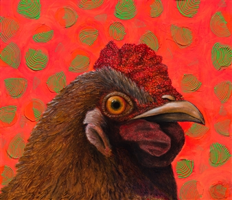 Julius L. Meyer - Hectic Hen Acrylic & Oil on Canvas, Paintings