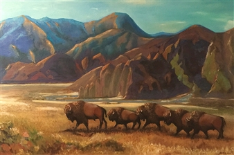 Garese - Transhumance of Bison Oil on Canvas, Paintings