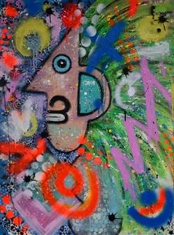 Lisa Gehres - Mad Max Acrylic & Spraypaint on Canvas, Paintings