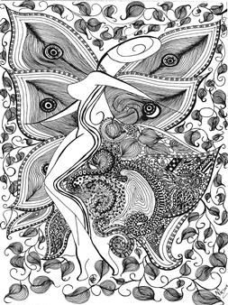 Nalayo - El Jardin de Gozo Black Fine Point Pen & Colored Markers on Paper, Drawings