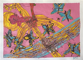 Ignatius - Butterflies Acrylic on Paper, Paintings