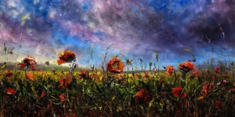 Deana Evstefeeva - Wildflower Walk Oil on Belgium Linen, Paintings