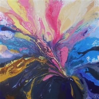 Rita Galambos - Between Dimensions IV. Acrylic & Mixed Media on Canvas, Mixed Media