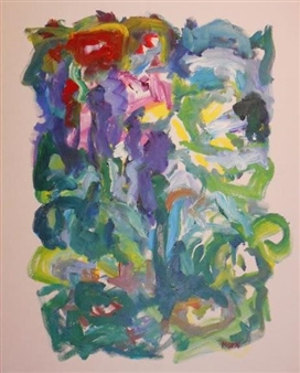 Susan Marx - Floral Abstract Acrylic on Canvas, Paintings
