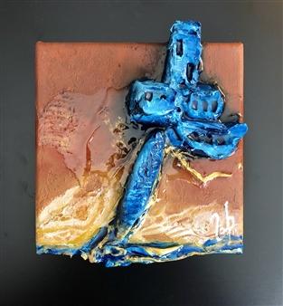 Zaineb Shaban - Distinguish 3D Mix Technic, Acrylic, Modeling Paste, Resin & Golden Leaf, Mixed Media