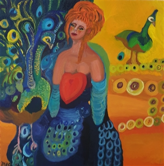 Mira Seeman - The Peacock Woman Oil on Canvas, Paintings