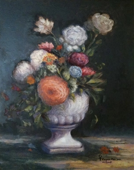 Ragaa Mansour - Flowers Oil on Canvas, Paintings