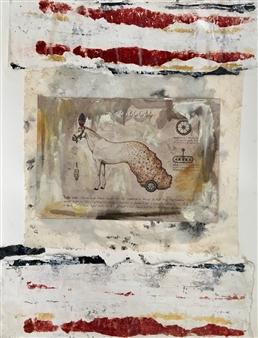 Lorena Becerra - Royal Horse Collage & Mixed Media on Canvas, Mixed Media
