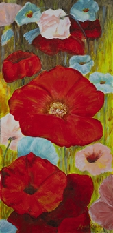 Anne E Chamness - Poppies Acrylic on Canvas, Paintings